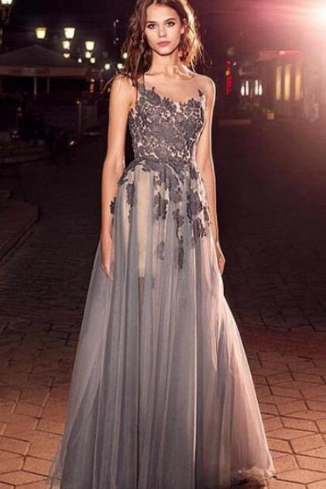 Bateau Neckline Prom Dress,Lace Prom Dress,Cheap Prom Dress,A-Line Evening Dresses With Lace Appliques