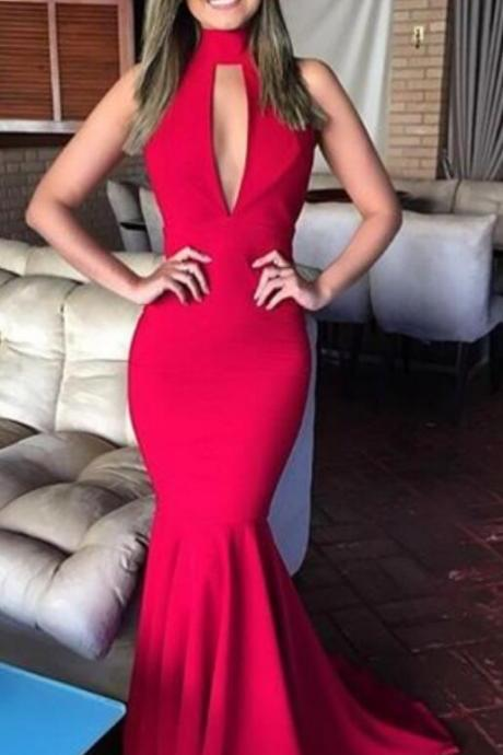 Halter Long Backless Prom Dress,Sexy Evening Formal Dress,Long Party Graduation Dresses for Women