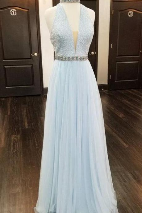 Long A-line Halter Prom Dress,Cheap Evening Dresses ,Sexy Formal Gowns BacklessProm Dress, Party Graduation Dresses with Beads for Teens