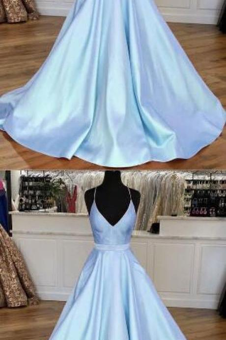 Light Blue Prom Dress,Cheap prom dress,Satin V-neck Cross Back Prom Dresses