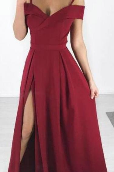 Burgundy Prom Dress,A Line Prom Dress,Side Slit Simple Cheap Long Party Prom Dresses