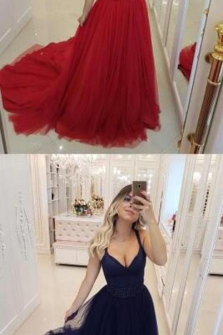 Sexy Red Prom Dress,Long Prom Dress,V-Neck Evening Dress 2019, Tulle Prom Dress