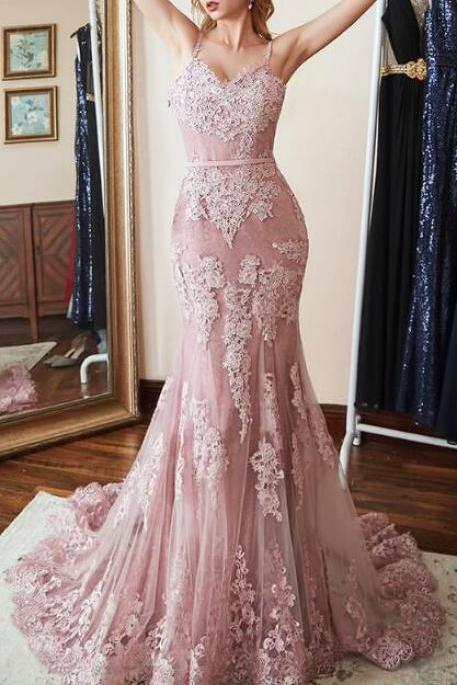 appliques lace evening dresses ,lace prom dress,sexy prom dress,women pageant dress formal party dress