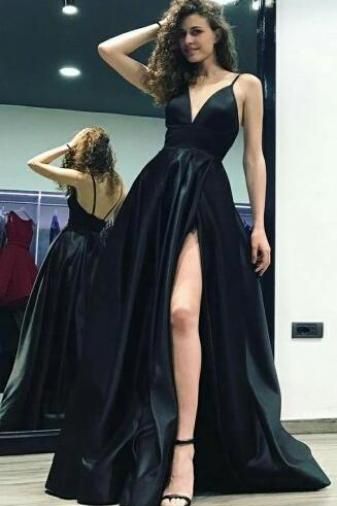 A-Line Prom Dress,V Neck Prom Dress,Spaghetti Straps Floor-Length Prom Dress,Black Satin Prom Dress with Split