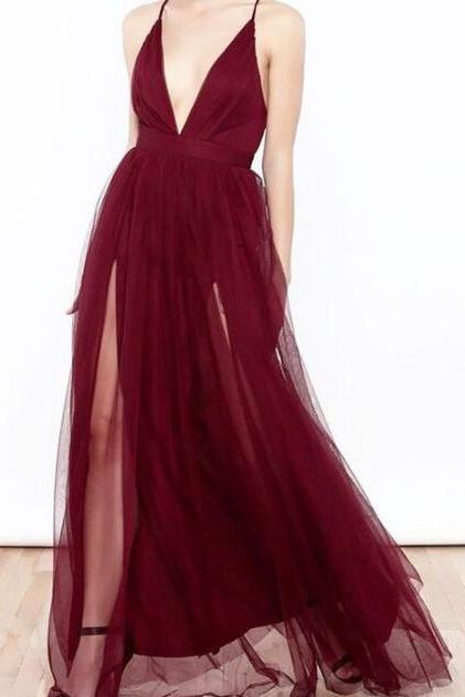 Burgundy Tulle Prom Dress,Cheap Prom Dress,Spaghetti Straps Long Prom Dress with Double Slits
