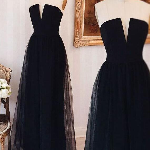 Simple Strapless Black Prom Dress,Cheap Tulle Long Prom Dress/Evening Dress
