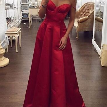 Charming A-Line Red Prom Dress,Cheap Sweetheart Neck Long Prom dress,Long Evening Dresses