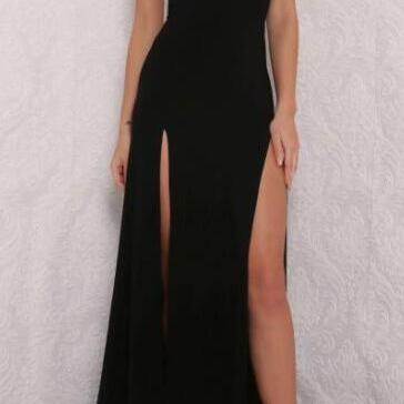 Sexy Black V neck Prom Dress,Open Back Prom Dress with Side Slit,Woman Formal Dresses,Long Party Dress,Simple Prom Dresses