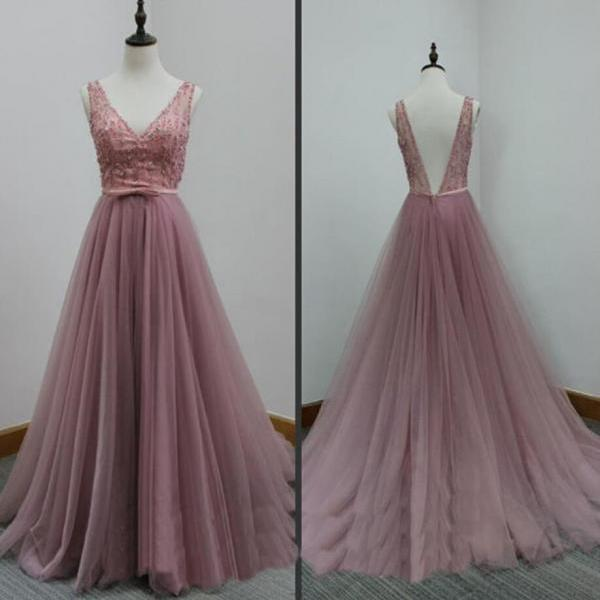 Custom Made Sexy Tull V-neckline Long Prom Dresses, Cheap Long Prom Dresses, Tulle Formal Gowns
