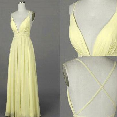 Beautiful Simple Light Yellow Prom Dress,Cheap Cross Back Long Chiffon Prom Dresses, Sexy Party Dresses, Evening Dresses