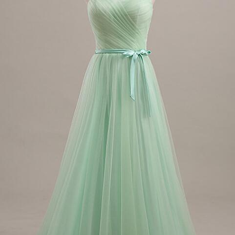 Light Green Long Bridesmaid Dress,Tulle Prom Dresses, Cheap Bridesmaid Dress,Party Dresses Floor Length