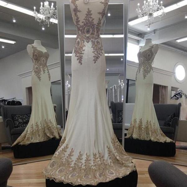 Ivory Chiffon Prom Dress,Sexy prom Dress,Gold Lace Appliques Prom Dress,Mermaid Evening Dresses, Long Prom Gowns