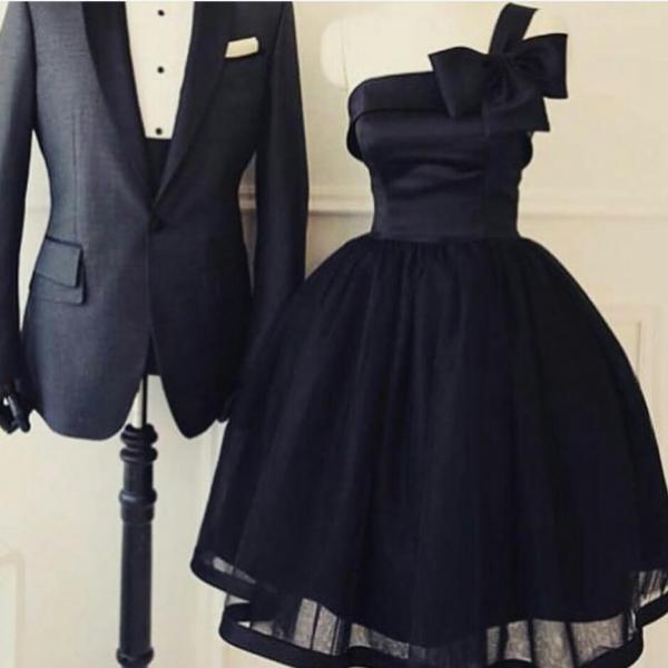 One Shoulder Short Prom Dress,Homecoming Dress,Little Black Homecoming Party Dress with Big Bow