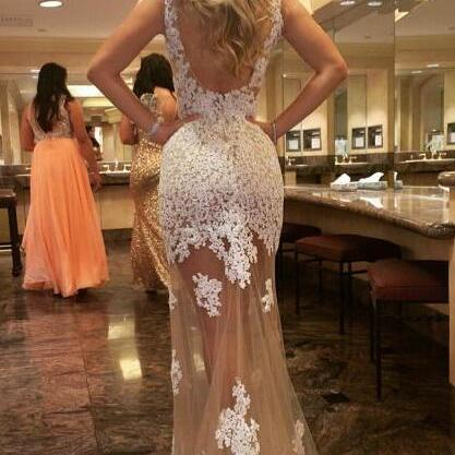 Illusion Neckline Lace Prom Dress,Floor Length Sheer Prom Dress,Sexy Evening Party Dress