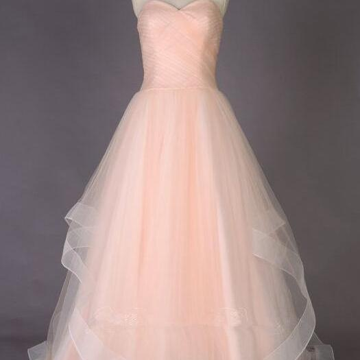 Strapless Prom Dress,Sweetheart A-line Prom Dress, Sexy Prom/Evening Dress, Tulle Prom Dress with Horsehair Trim Overskirt