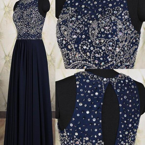 Navy Blue Prom Dresses,Elegant Beading Evening Dresses,Long Formal Gowns,Beaded Party Dresses,Chiffon Pageant Formal Dress