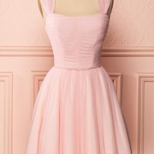 Pink Sleeveless Ruched A-line Short Homecoming, Prom Dress, Cocktail Dress