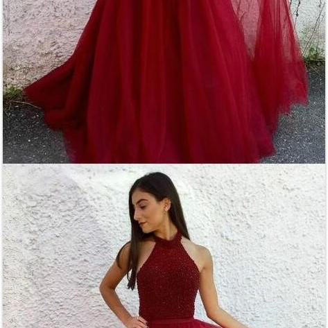 Sexy Open Back Red Graduation Dress,Beading Prom Dress,Cheap Prom Dress,Beaded Red Prom Dress,Long Evening Dress,Halter Neckline Red Open Back Prom Party Dress