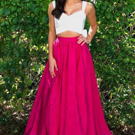 Sexy Prom Dress,Cheap Prom Dress,Two Piece White and Hot Pink Prom Dress,Prom Dresses 2018,Sexy Evening Dress, Prom Gowns, Formal Women Dress,A lIne prom dress
