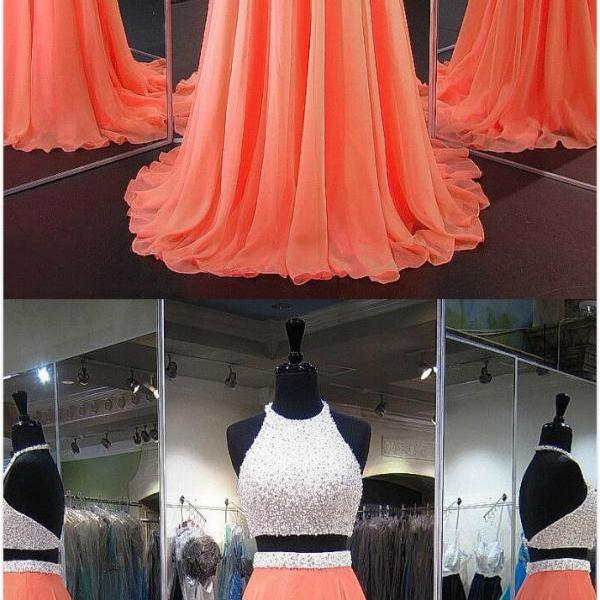 Sweep Train Two Piece Prom Dresses,Halter Chiffon Prom Dress, Orange Homecoming Dresses, Crystal Detailing Backless Prom Dress,Perfect A-line Prom Dress, Perfect A-line Halter Party Dresses, Chiffon Backless Formal Dresses, Two Piece Prom Dresses, Long Graduation Dresses