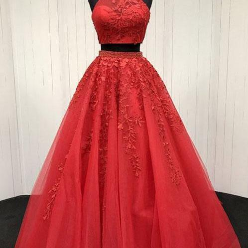 Sexy Two Pieces Prom Dress,Lace Prom Dress, Red Evening Dress, Tulle Long Prom Dress,Fashion Prom Dress,Sexy Party Dress,Custom Made Evening Dress,Sexy Evening Dress
