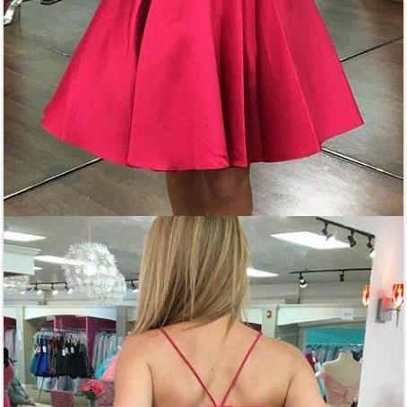Cute Red Prom Dress,Short homecoming Dress,Stain Homecoming Dress,SHort Prom Dress,V-Neck A-Line Homecoming Dress,Short Prom Dress with Bow