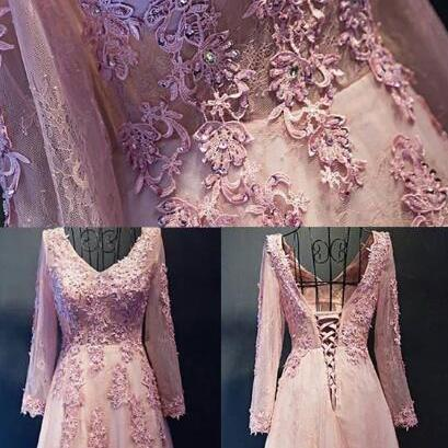 Tulle Prom Dress,, Lace Long Sleeve Prom Dress , Hot Pink Prom Dresses, Long Sleeve , Hot Pink , Long Sleeve Lace