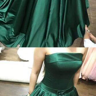 strapless long prom dresses, sexy prom dress,simple turquoise prom dress,stain prom dress,elegant satin evening gowns with beading, modest sweep train party dresses