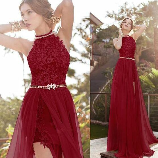 Halter Prom Dress,Lace Prom Dress,Cheap Prom Dress,Sexy A-Line Prom Dresses,Split-Front Prom Gowns,Chiffon Long Evening Dress,Sexy Prom Dresses,Prom Dresses
