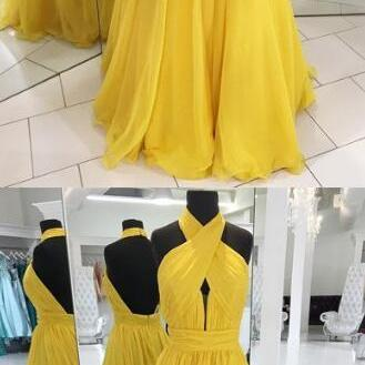 yellow prom dress,Chiffon Prom Dress,A Line Prom Dress,Sexy Prom Dress, long evening dress,prom dresses