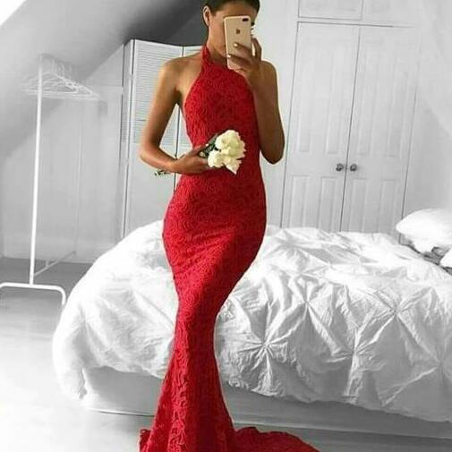 Halter Prom Dress,A Line Prom Dress,lace mermaid prom dress,cut out back party dress,formal evening dresses for women