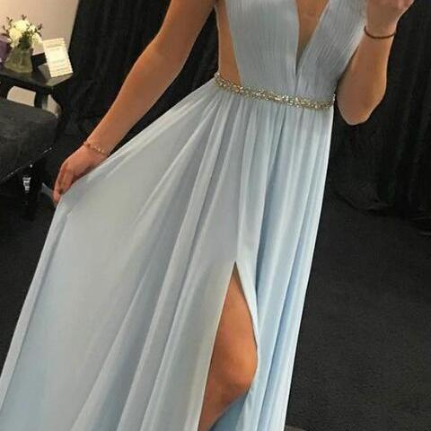 elegant v neck prom dress,simple prom dress,light sky prom dress,blue long prom dress, chiffon long prom dress with side slit, party dress