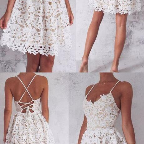 Sleeveless Homecoming Dress,Lace Homecoming Dress,Short Prom Dress ,Ivory Prom Dresses With Criss-Cross Bandage Splendid Dresses