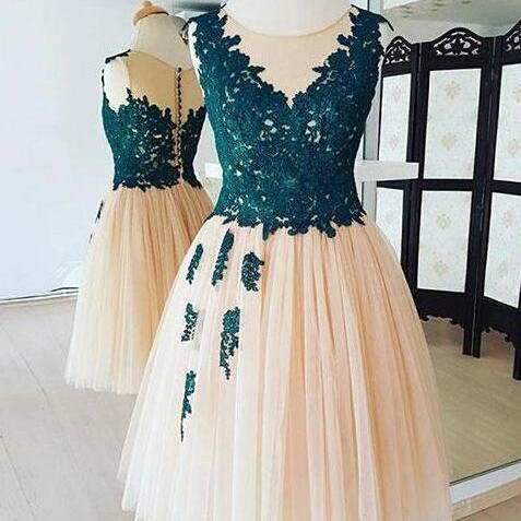Champagne Round Neck Homecoming Dress,Lace Tulle Homecoming Dress,Short Prom Dress,Applique Homecoming Dress
