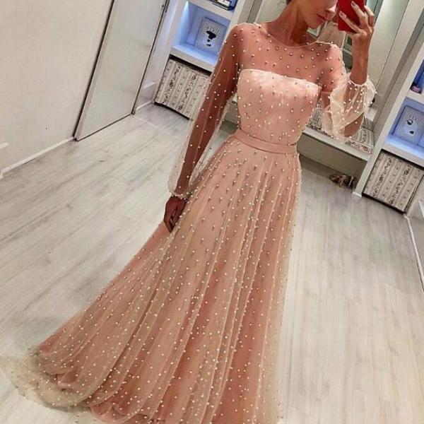 Charming Long Sleeves Prom Dress,Sexy Prom Dress with Pearls ,Pink Floor-Length Prom Dress,Cheap Prom Dress,Tulle Evening Gowns