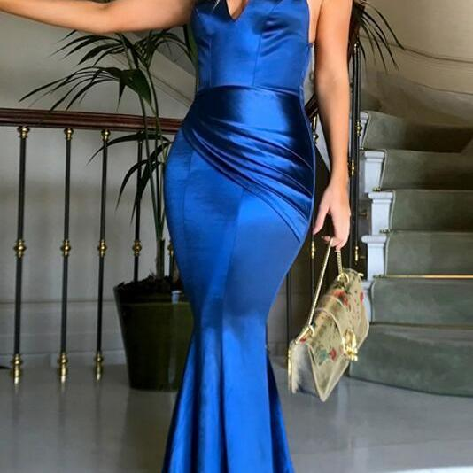 Sweep Train Criss-Cross Prom Dresses, Stain prom Dress,Sexy prom Dress,Mermaid V-Neck Prom Dress,Straps Royal Blue Satin Prom Dress