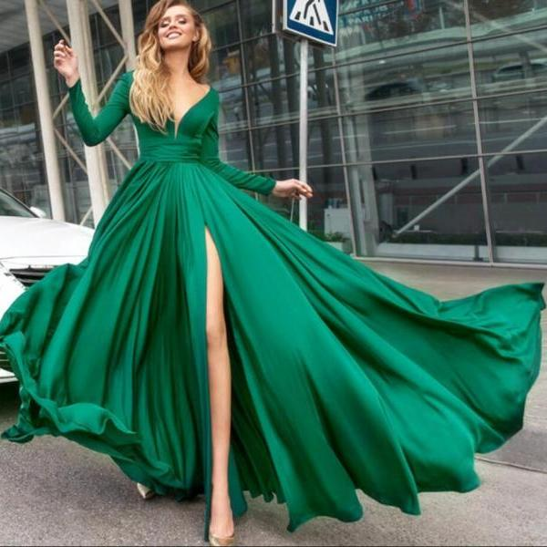 Hunter Green Prom Dress,Sexy Prom Dress,Long Sleeves Evening Dresses with Slit,Cheap Prom Dress