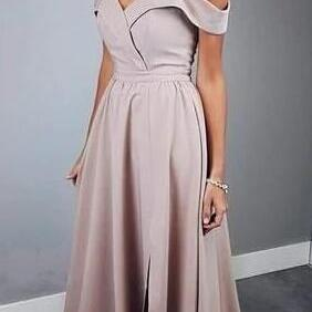 Simply Elegant Straps Prom Dress,Simple Prom Dress,Cheap Prom Dress,Pink Long Prom Dress with Slit