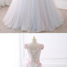 White tulle Prom Dress,Sexy Prom Dress,Cheap Prom Dress,V neck long flower sweet 16 prom dress
