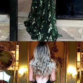 Mermaid Deep V-Neck Prom Dress,Sexy Prom Dress,Lace Prom Dress,Sweep Train Criss-Cross Straps Dark Green Prom Dress,Sequined Prom Dress