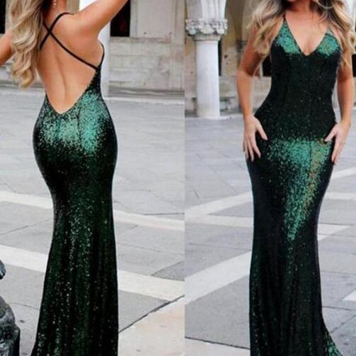 Sparkly Green Sequin Prom Dress,Sexy Backless Mermaid Prom Dress,Long Evening Prom Dresses