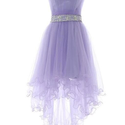 High Low Homecoming Dress ,Strapless Short Prom Dress,Lavender Prom Dress,Cheap Prom Gown
