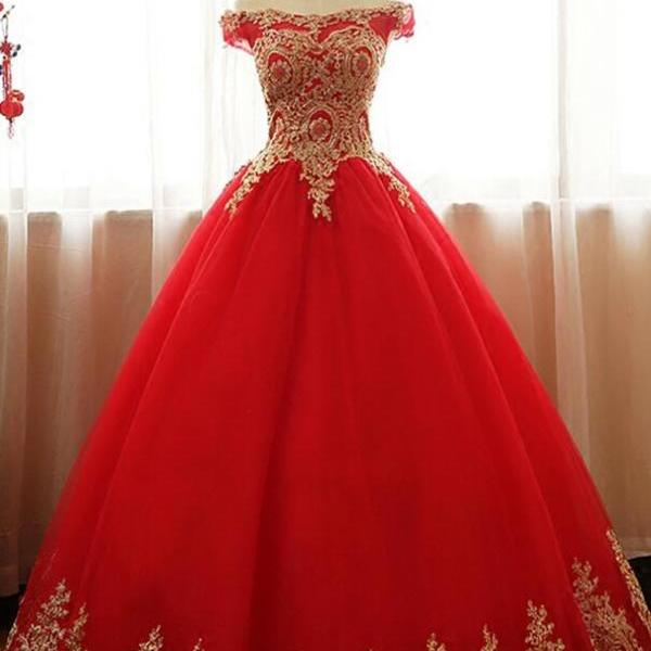Ball Gown Long Party Gowns ,Prom Dress with Gold Applique, Off Shoulder Formal Dresses, Red Tulle Evening Dress