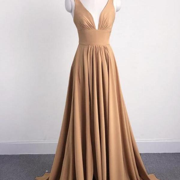 Beautiful Sexy Prom Dress,V-neckline Chiffon Long Party Gown 2019, Champagne Long Formal Dresses